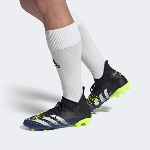Predator Freak .2 Unisex Firm Ground Soccer Shoes - Core Black/Cloud White/Solar Yellow