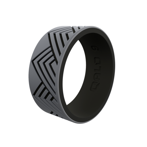 Men's Strata Mountain Silicone Ring - Grey and Black