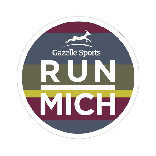 RUN MICH Striped Circle Sticker - Cranberry/Dark Green