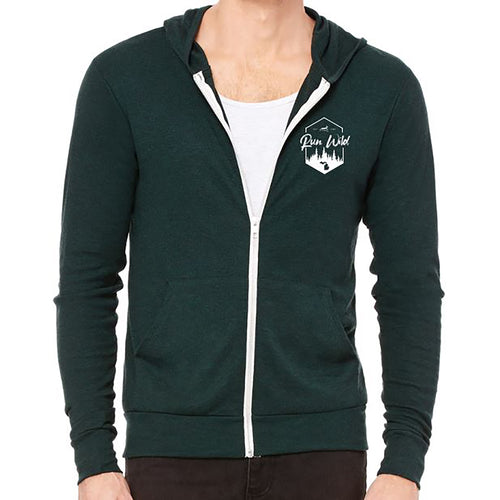 Run Wild Woods Triblend Lightweight Full-Zip Hoodie - Emerald Triblend