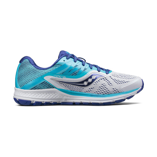 Women's Ride 10 Running Shoe- White/Blue