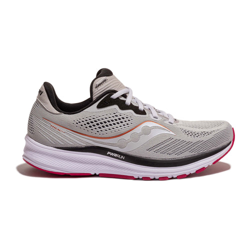 Women's Ride 14 Running Shoe (D - Wide) - Fog/Cherry