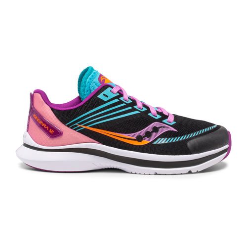 Girls' Kinvara 12 Running Shoe - Black/Pink