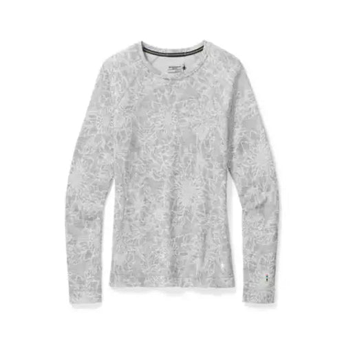 Women's Merino 250 Baselayer Pattern Crew - Light Grey Traced Dahlia