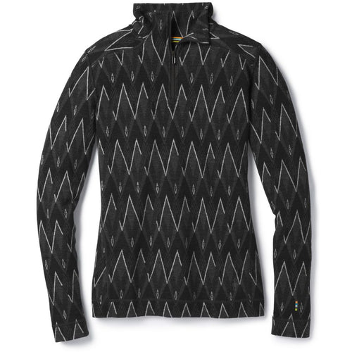 Women's Merino 250 Base Layer Pattern 1/4 Zip Shirt - Black/Charcoal Heather