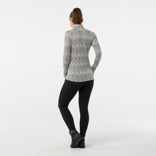 Women's Merino 250 Base Layer Pattern 1/4 Zip Shirt - Light Grey/Moonbeam Heather