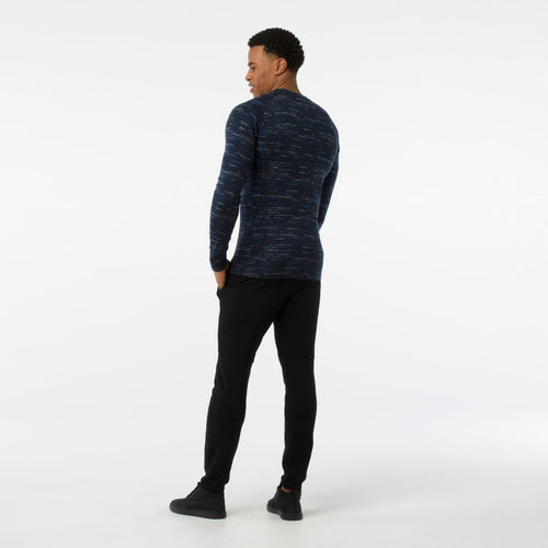 Men's Merino 250 Base Layer Pattern Crew Shirt - Deep Navy/Bright Cobalt