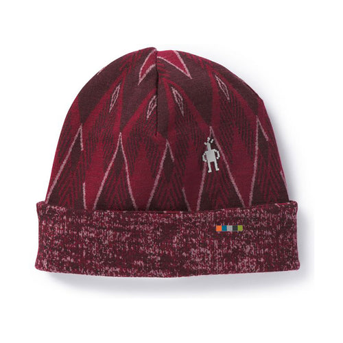 Women's 250 Reversible Pattern Cuff Beanie-Tibetan Red