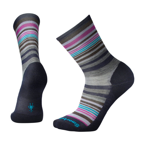 Women's Jovian Stripe Socks-Deep Navy Heather/Meadow Mauve Hthr