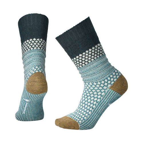 Women's Popcorn Cable Socks-Lochness Heather