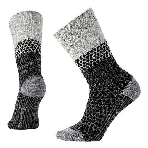 Women's Popcorn Cable Socks-Winter White Donegal