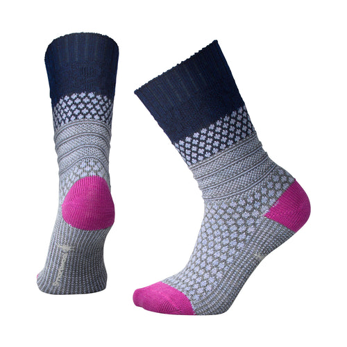 Women's Popcorn Cable Socks - Deep Navy Heather/Meadow Mauve Heather