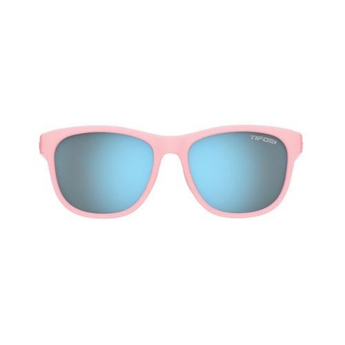 Swank Sunglasses - Satin Crystal Blush / Smoke Bright Blue