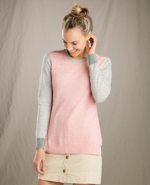 Womens Trillium Crew Sweater- Cloud Pink