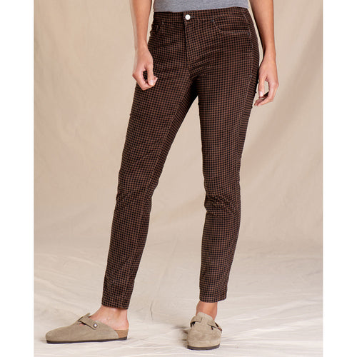Women's Cruiser Cord Skinny Pant - Chestnut Houndstooth Print