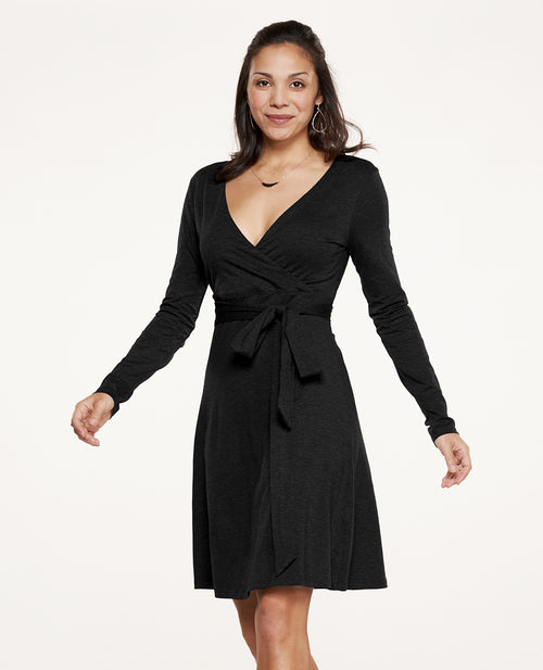 Womens Cue Wrap Long Sleeve Dress-Black