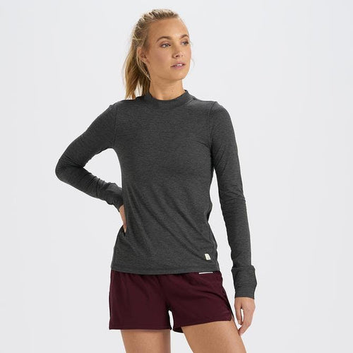 Women's Long Sleeve Lux Tee - Charcoal Heather