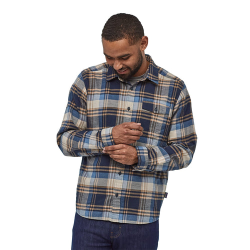 Men's Long Sleeve Lightweight Fjord Flannel Shirt - Buttes: Neo Navy