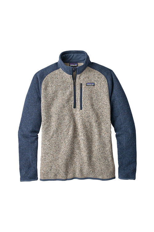 Men's Better Sweater 1/4 Zip Fleece - Bleached Stone w/Dolomite Blue