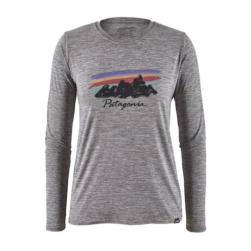 Women's Long-Sleeved Capilene® Cool Daily Graphic Shirt - Freehand Fitz Roy: Feather Grey
