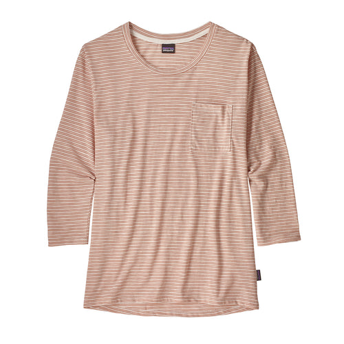 Women's Mainstay 3/4 Sleeve Top-Double Dipper: Flora Pink