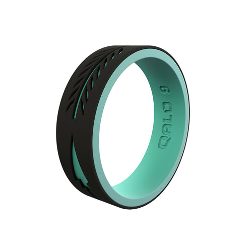Women's Strata Arrow Ring - Black and Aqua