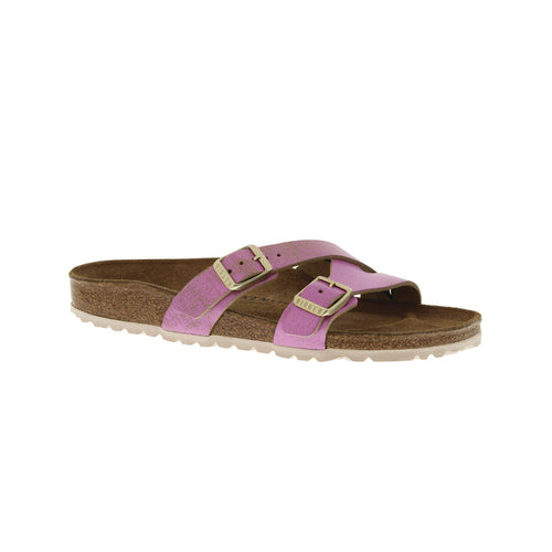 Women's Yao Cork Washed Metallic Pink Leather Sandal