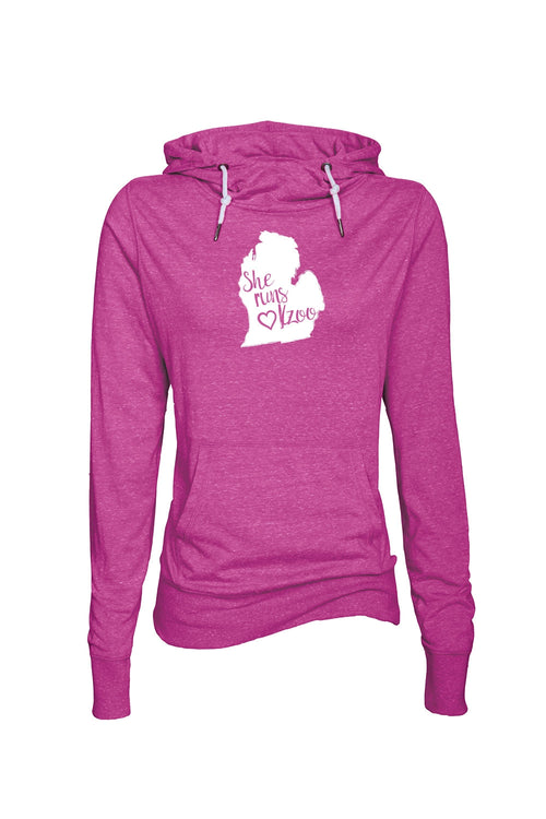 Women's She Runs Kalamazoo Funnel Neck Hoodie