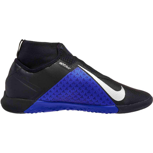 React Phantom Vision Pro Dynamic Fit Indoor Soccer Cleat - Black/Metallic Silver/Racer Blue