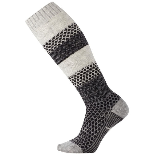 Women's Popcorn Cable Knee High Socks - Winter White Donegal