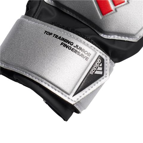 Predator Finger Save Junior Gloves - Silver Metallic/Black/Red