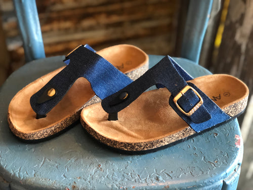 Denim Buckle Sandals