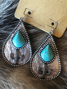 Turquoise and Cacti Earrings