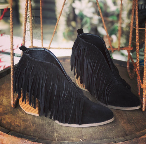 Fringe Booties (Black)