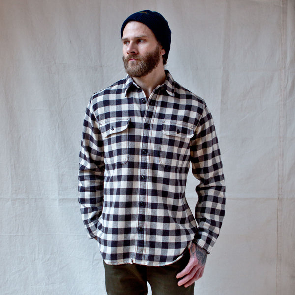 Vintage Flannel Work Shirt Brown Tan Check