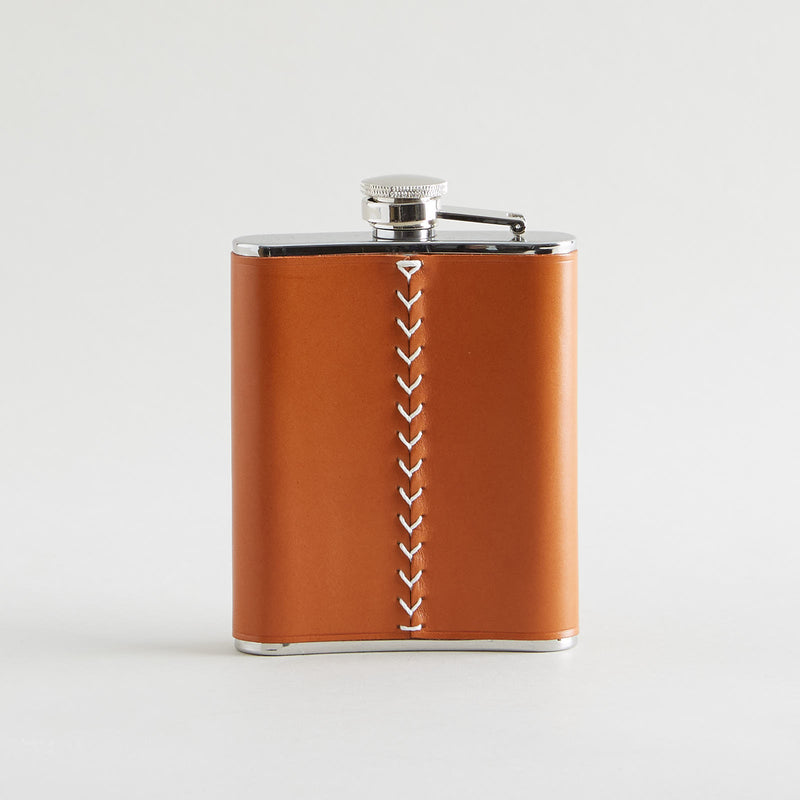 Leather Wrapped Flask Dark Tan