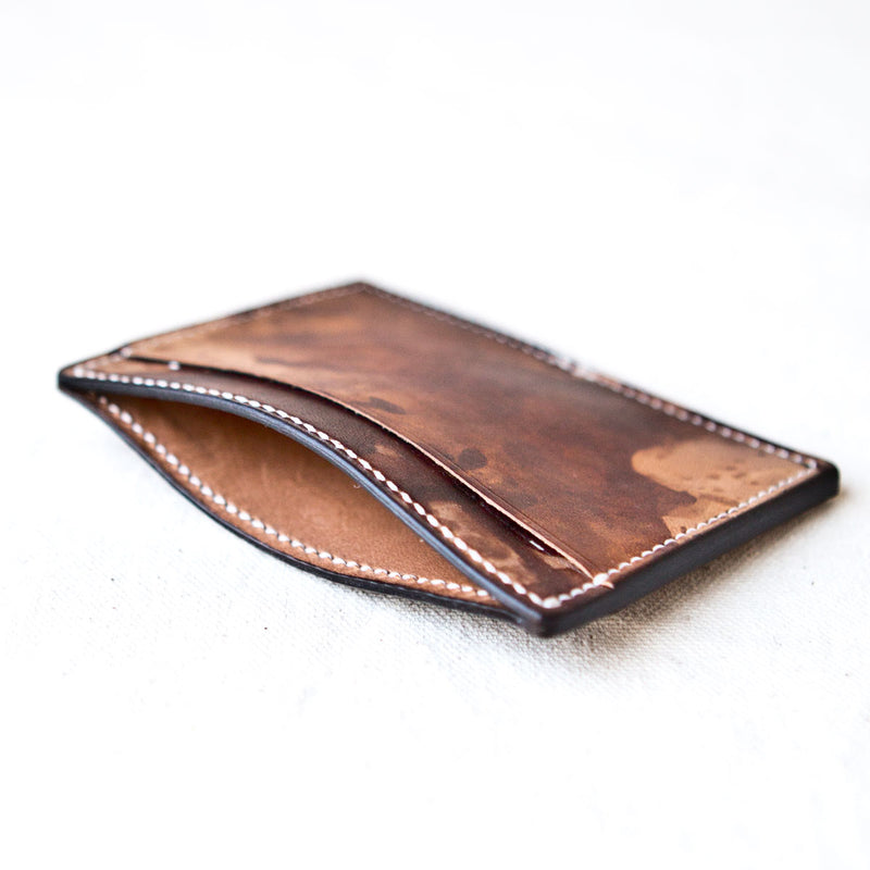Three Pocket Wallet Drip Dyed Calfskin
