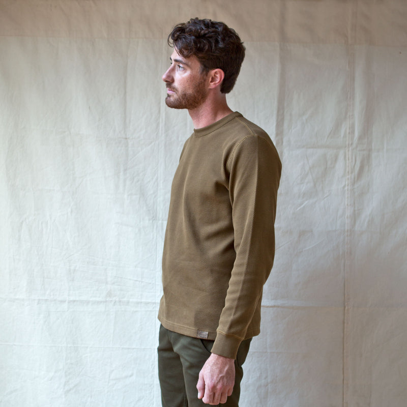 Waffle Knit Thermal Crewneck Olive