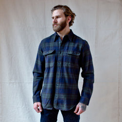 Vintage Flannel Work Shirt Black Green Navy