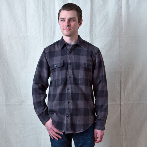 Vintage Flannel Work Shirt Black Charcoal Check