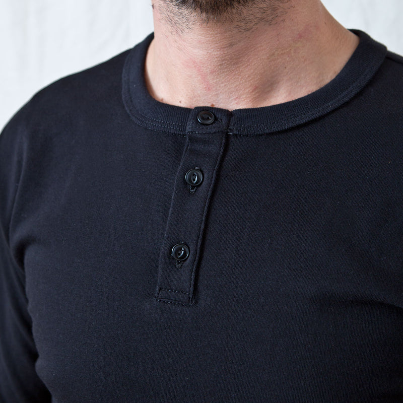 Long Sleeve Henley Black