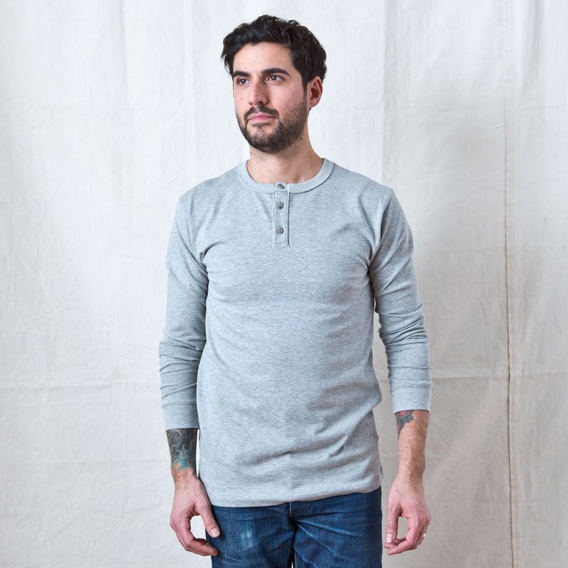 Long Sleeve Henley Heather Grey
