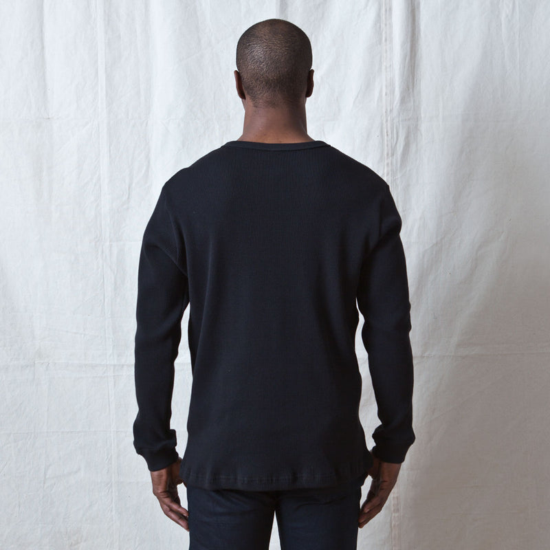 Long Sleeve Thermal Henley Black