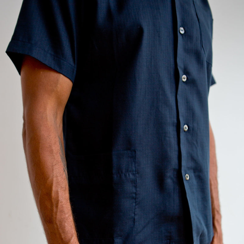 Short Sleeve Leisure Shirt Navy Lyocell Ripstop