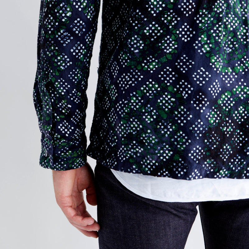 Shirt Jacket Navy Green Batik Print