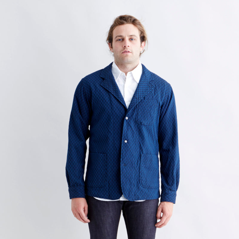 Shirt Jacket Navy Diamond Seersucker
