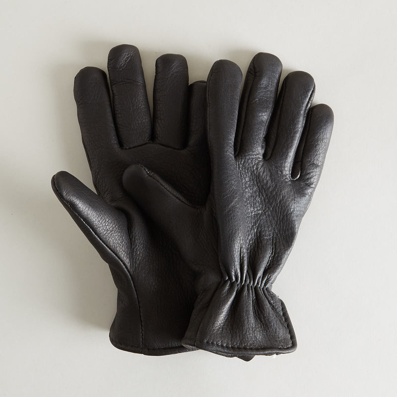 Lined Deerskin Gloves Black
