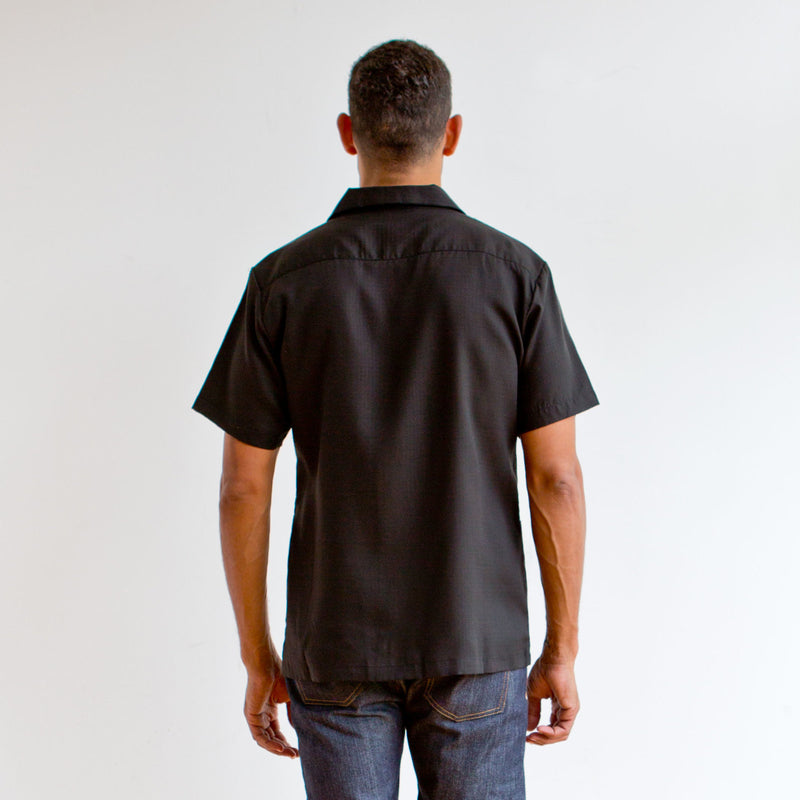 Short Sleeve Leisure Shirt Black Lyocell Ripstop