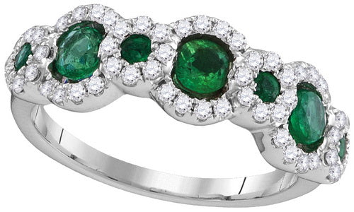 18k White Gold Round Emerald Diamond Band Ring 1 Cttw