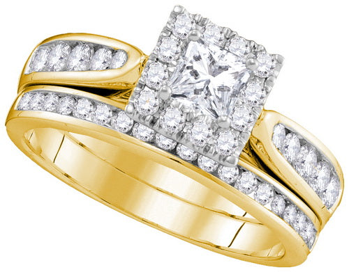 14k Yellow Gold Princess Diamond Bridal Wedding Ring Set 1 Cttw